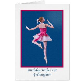 Cumpleaños, ahijada, bailarina en tarjeta azul