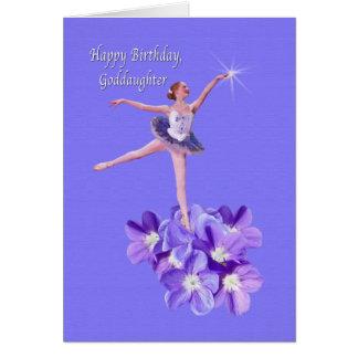 Cumpleaños, ahijada, bailarina y violetas tarjeta de felicitación