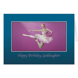 Cumpleaños, ahijada, saltando a la bailarina tarjeta de felicitación