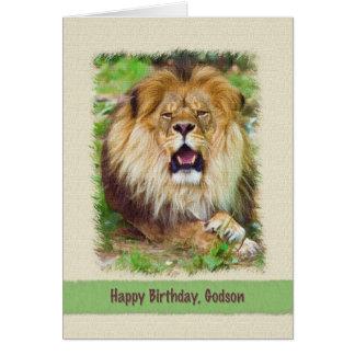 Cumpleaños, ahijado, león tarjeta de felicitación