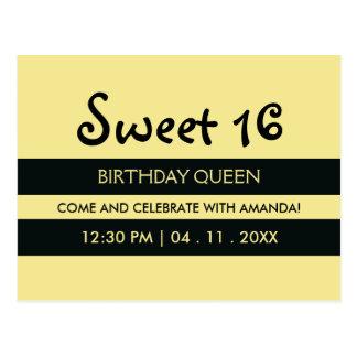 Cumpleaños amarillo del dulce dieciséis de las postal