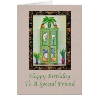 Cumpleaños, amigo, aún vida con el gabinete tarjeta