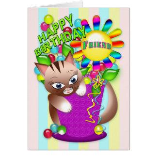 Cumpleaños - amigo - celebración del gato del tarjeta de felicitación