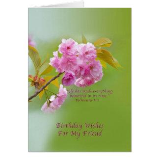 Cumpleaños, amigo, flores de cerezo, religiosas tarjeta de felicitación