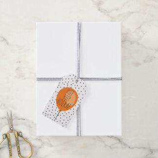 Cumpleaños anaranjado del holandés del globo de etiquetas para regalos