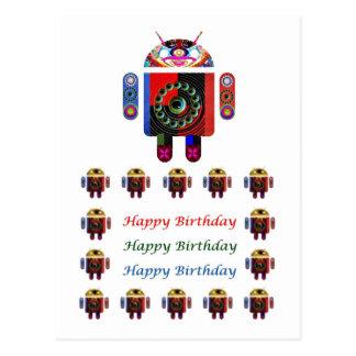 Cumpleaños ANDROIDE de HappyBirthday feliz Postal