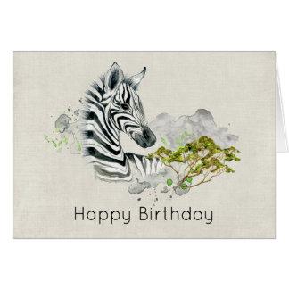 Cumpleaños animal exótico salvaje de la cebra del tarjeta de felicitación