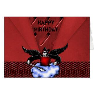 Cumpleaños asustadizo rojo del gótico del cazador  tarjeta de felicitación