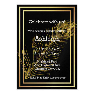 Cumpleaños atractivo de la pluma del pavo real del invitación 12,7 x 17,8 cm