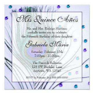 Cumpleaños atractivo púrpura de Quinceanera de la Invitación 13,3 Cm X 13,3cm