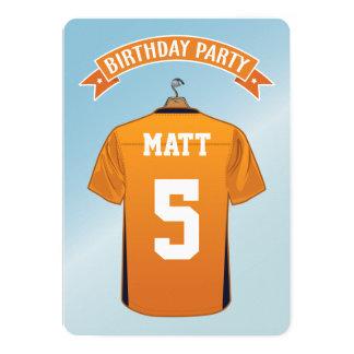 Cumpleaños azul anaranjado del jersey del fútbol invitación 12,7 x 17,8 cm