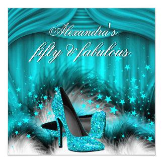 Cumpleaños azul de 50 del trullo fabuloso plumas invitación 13,3 cm x 13,3cm