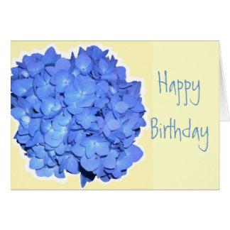 Cumpleaños azul de la escritura del Hydrangea Tarjeta De Felicitación