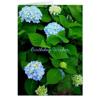 Cumpleaños azul del cristiano del Hydrangea Tarjeta De Felicitación