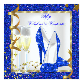 Cumpleaños azul fantástico del oro blanco 50 invitación 13,3 cm x 13,3cm