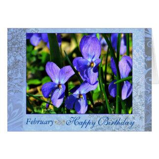 Cumpleaños azul hermoso de las violetas de febrero tarjeta de felicitación