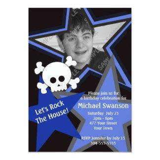 Cumpleaños azul y negro de la estrella del rock invitación 12,7 x 17,8 cm