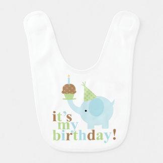 Cumpleaños azul y verde del elefante babero para bebé