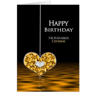 Cumpleaños - Birthstone - noviembre - Citrine Tarjeta De Felicitación
