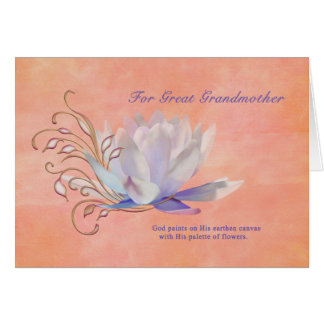 Cumpleaños, bisabuela, lirio de agua, religioso tarjeta de felicitación
