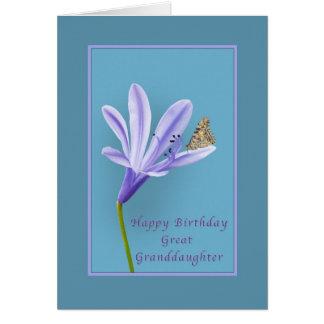 Cumpleaños, bisnieta, flores, mariposa tarjeta de felicitación