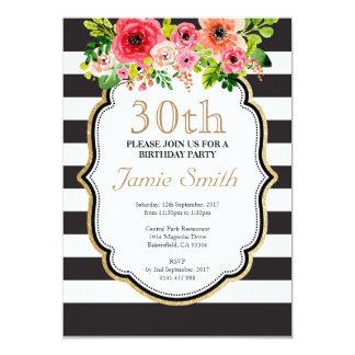 Cumpleaños blanco y negro de la raya de la flor de invitación 12,7 x 17,8 cm