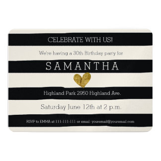 Cumpleaños blanco y negro del corazón del oro de invitación 12,7 x 17,8 cm
