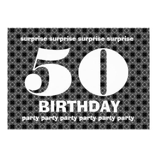 Cumpleaños blanco y negro V004 de la sorpresa Invitacion Personal