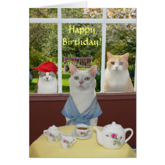 Cumpleaños bonito adaptable de la hembra del gato tarjeta