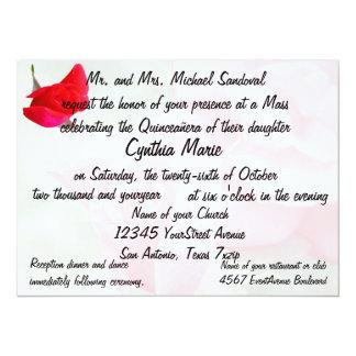 Cumpleaños bonito de Quinceanera del rosa rojo Invitación 13,9 X 19,0 Cm