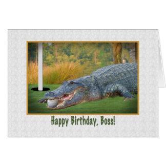 Cumpleaños, Boss, golf, cocodrilo Tarjeta De Felicitación