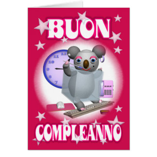 Cumpleaños-Buon feliz italiano Compleanno - koala Tarjeta De Felicitación