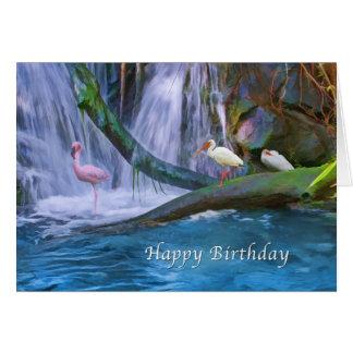 Cumpleaños, cascada tropical, flamencos, Ibis Tarjeta De Felicitación
