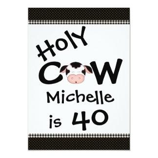 Cumpleaños chistoso personalizado de la vaca 40.a invitación 12,7 x 17,8 cm