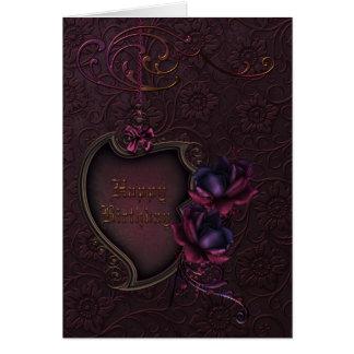 Cumpleaños color de rosa gótico felicitacion