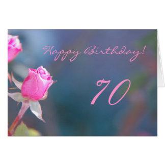 Cumpleaños color de rosa rosado 70 años de tarjeta