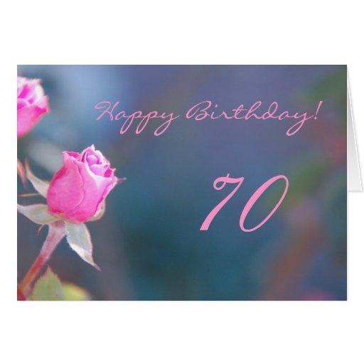 Cumpleaños color de rosa rosado 70 años de tarjeta de Zazzle.