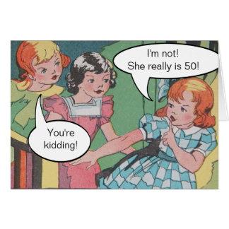 Cumpleaños cómico del dibujo animado retro tarjeta de felicitación