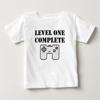 Cumpleaños completo del nivel uno primer camiseta de bebé