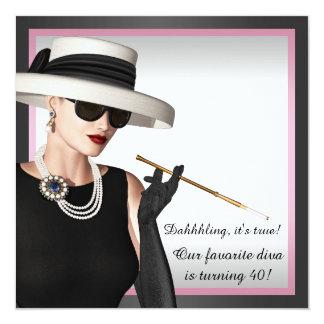 Cumpleaños con clase del rosa y del negro de la invitación 13,3 cm x 13,3cm