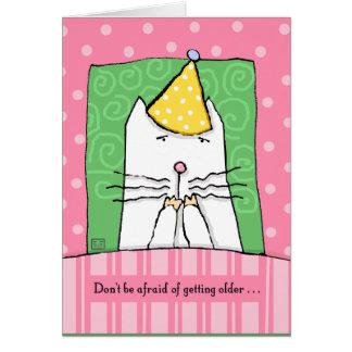 Cumpleaños, consiguiendo más viejo, gato, feliz tarjeta de felicitación