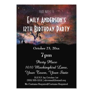 Cumpleaños cósmico de Halloween Invitación 12,7 X 17,8 Cm
