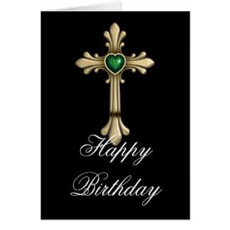 Cumpleaños cruzado del verde 2 de oro de tarjeta pequeña