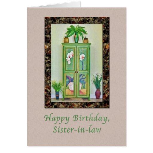 Cumpleaños, cuñada, aún vida con el gabinete tarjetón