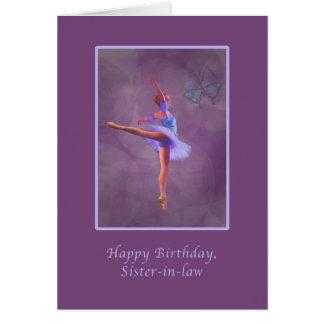 Cumpleaños, cuñada, bailarina en Arabesque Tarjeta De Felicitación