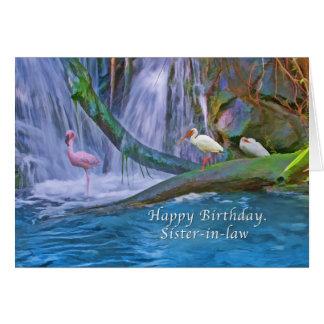 Cumpleaños, cuñada, cascada tropical, pájaros tarjeta de felicitación