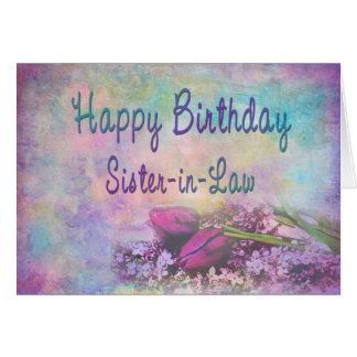 Cumpleaños - cuñada - elegancia floral tarjeta de felicitación