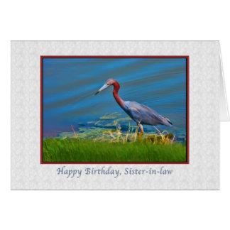 Cumpleaños, cuñada, garza de pequeño azul tarjeta de felicitación