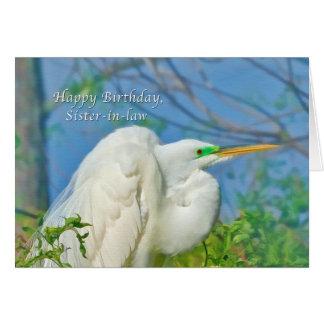 Cumpleaños, cuñada, gran pájaro del Egret Tarjeta De Felicitación