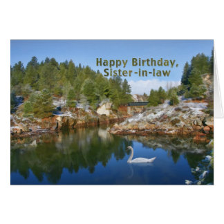 Cumpleaños, cuñada, lago mountain, cisne, tarjeta